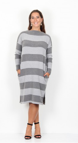 Mama B Rabat Dress Ash Grey Stripe