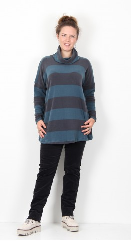 Mama B Bill Roll Neck Top Petrol Iron Stripe