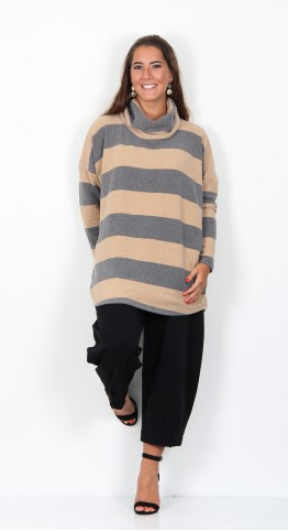 Mama B Bill Roll Neck Top Ash Cookie Stripe