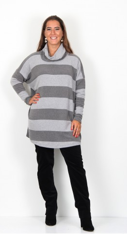Mama B Bill Roll Neck Top Ash Grey Stripe.