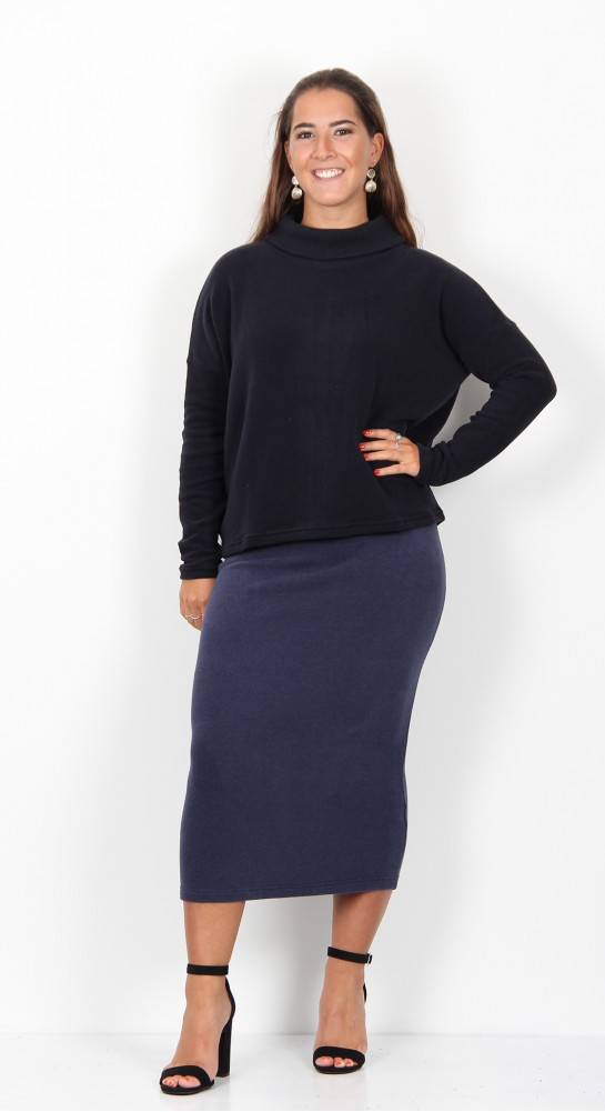 Mama B Vigo Ribbed Neck Jumper Ink