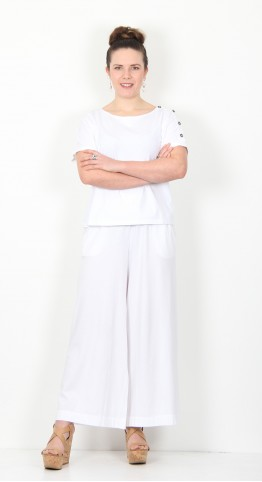 Mama B Ortigia Cropped Wide Pants White
