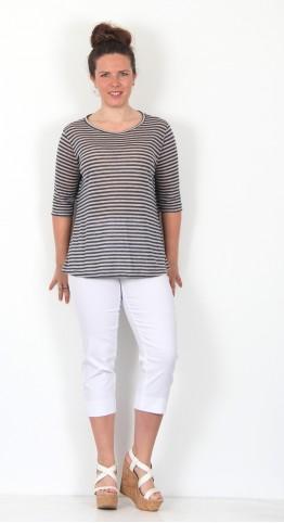 Mama B Corfu Linen Stripe Jumper Blue