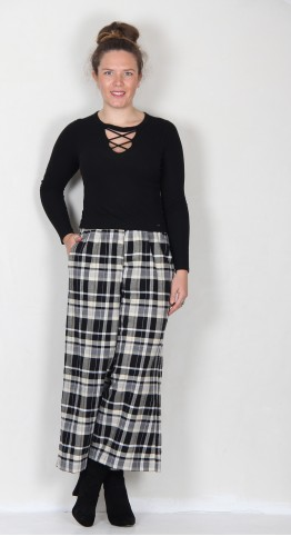 Mama B Ortigia Cropped Wide Pants Nero/Betu Check