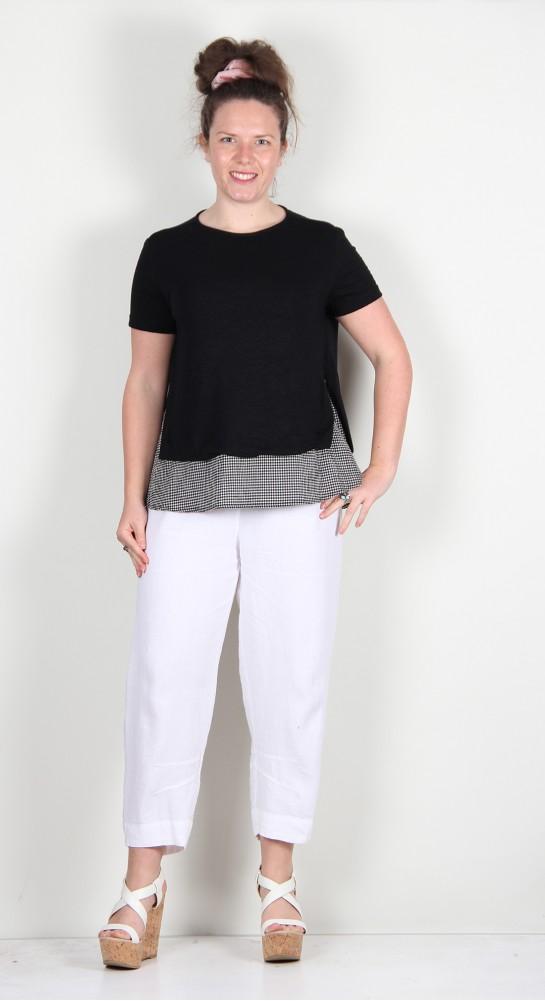 Mama B Ally Fine Linen Knit Layered Top Black