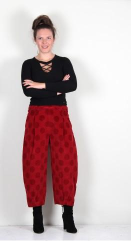 Mama B Bianco VP Needlecord Trouser Pomegranite Spot