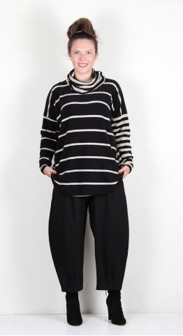 Mama B Bis TB Roll Neck Top Black/Marble Stripe Combination