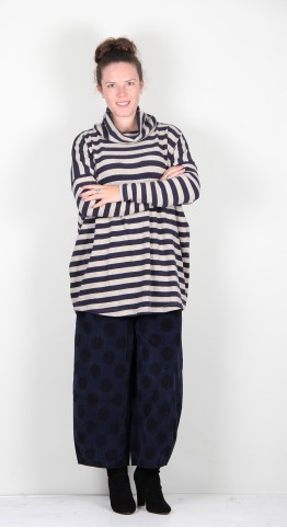 Mama B Bill P Roll Neck Top Blue/Marble Stripe