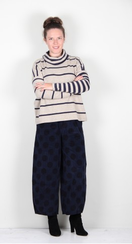 Mama B Monte Tb Roll Neck Jumper Marble/Blue Stripe Combi