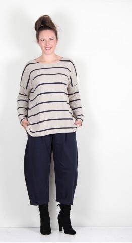 Mama B Baci RG Button Back Knit Marble/Blue Wide Stripe