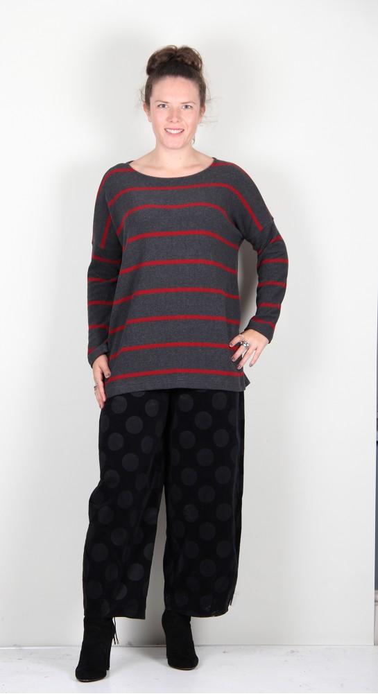 Mama B Baci RG Button Back Knit Antyhracite/Pomegranite Wide Stripe