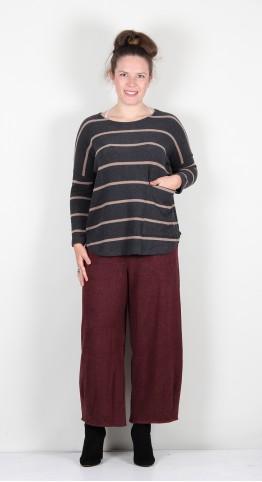 Mama B Pane U One Pocket Neck Knit Anthracite/Hazelnut Stripe