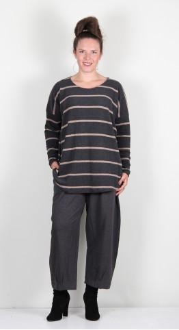 Mama B Sunny RG Round Neck Top Anthracite/Hazelnut Wide Stripe