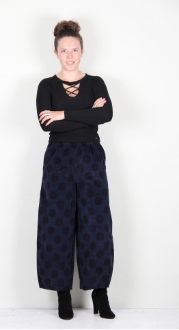 Mama B Pino VP Needlecord Trouser Blue Mix Spot