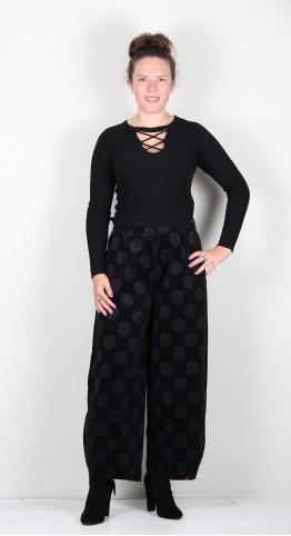 Mama B Pino VP Needlecord Trouser Black Spot