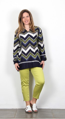 Masai Clothing Ivonne Blouse Lime Zig Zag