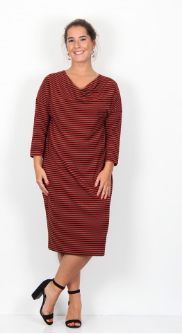 Masai Clothing Nika Dress Red Ochre Stripe