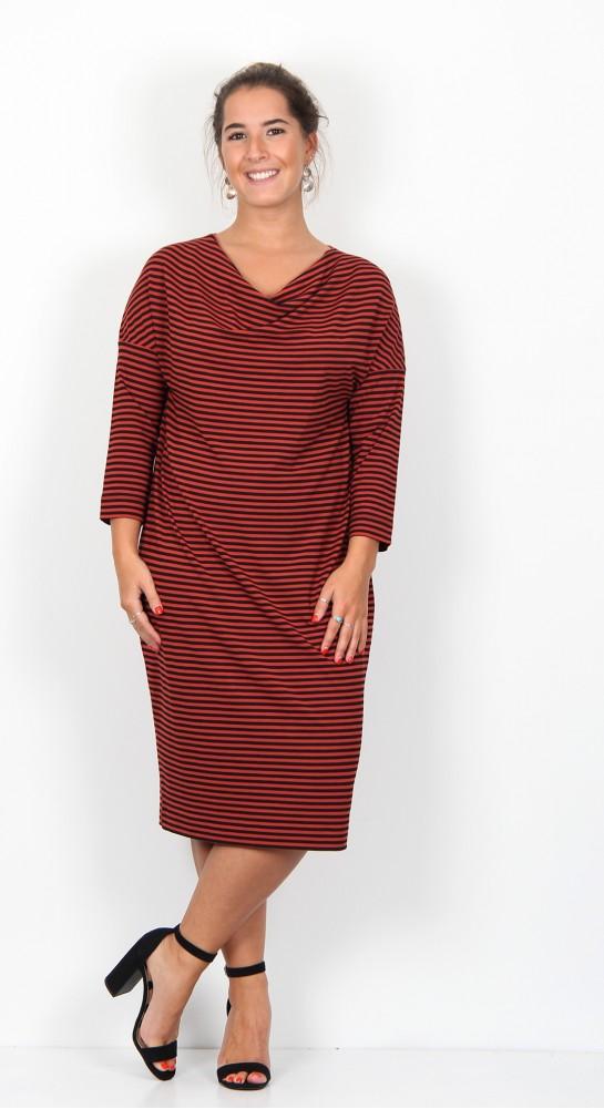 Masai Clothing Nika Dress Red Ochre Stripe