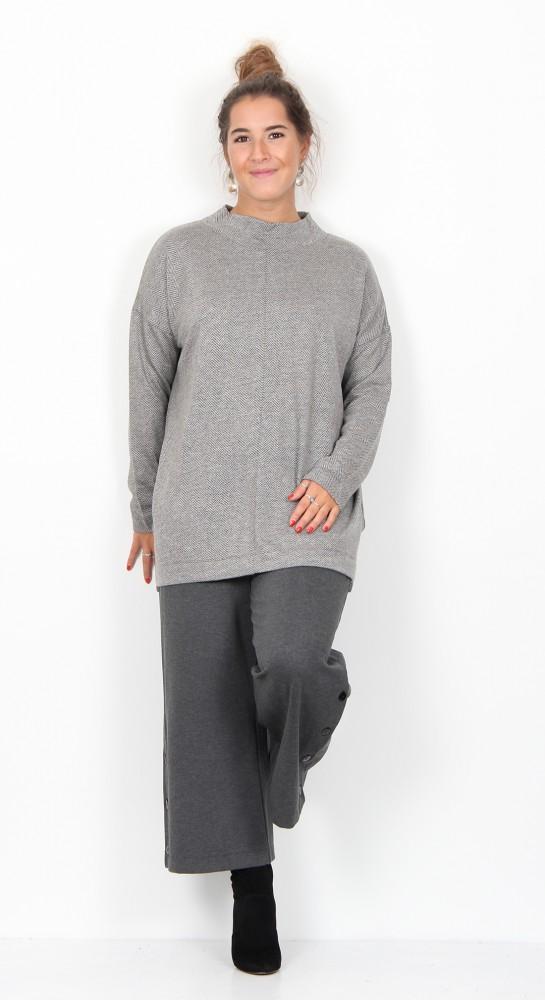 Masai Clothing Bodil Top Grey Herringbone