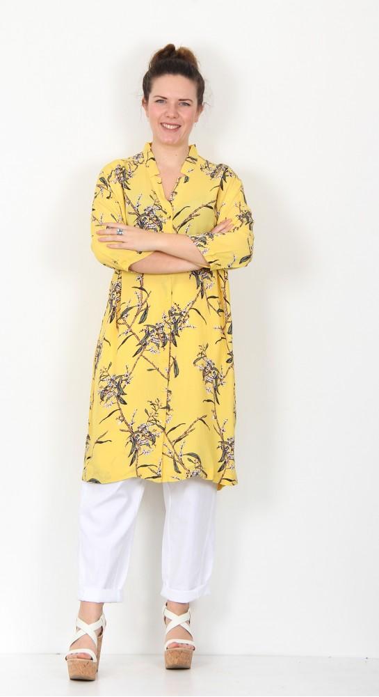 Masai Clothing Nakata Shirt Dress Cream Gold