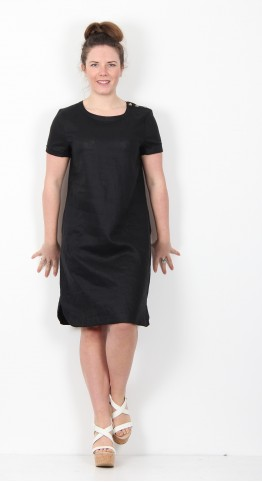 Masai Clothing Nalani Linen Dress Black