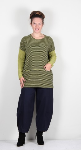 Mes Soeurs Et Moi Nacre Pocket Soft Fleece Pullover Olive/Navy Stripe