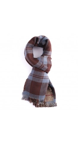 Miss Sparrow Double-Sided Check Scarf Blue