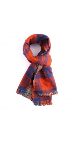 Miss Sparrow Double-Sided Check Scarf Orange