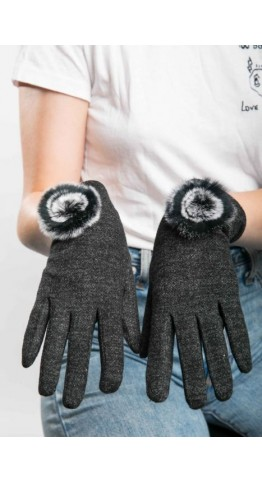 Miss Sparrow Lily Melange Gloves Black