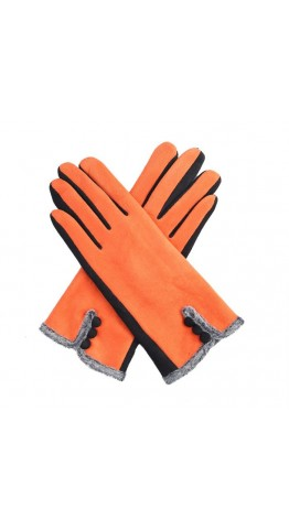 Miss Sparrow Ros Two Tone Gloves Orange
