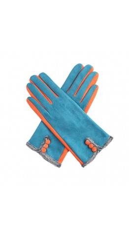 Miss Sparrow Ros Two Tone Gloves Teal