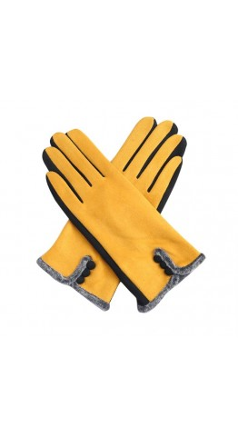Miss Sparrow Ros Two Tone Gloves Mustard