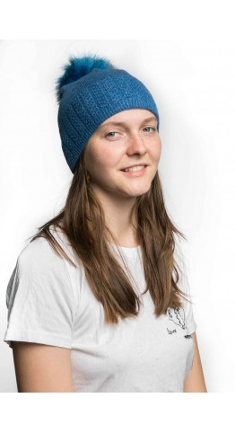 Miss Sparrow Cable Knit Bobble Hat Denim