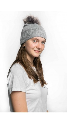 Miss Sparrow Cable Knit Bobble Hat Grey