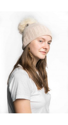 Miss Sparrow Cable Knit Bobble Hat Pink
