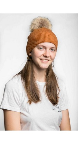 Miss Sparrow Cable Knit Bobble Hat Mustard