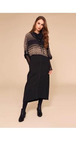 Naya Waffle Dress With Stripe Overtop Black/Stone