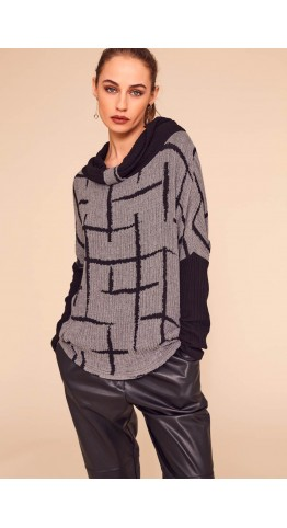 Naya Check Top With Pleat Collar Blacl/Grey