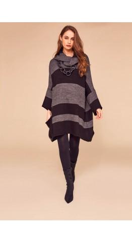 Naya Oversized Cowl Neck Knit Black/Grey