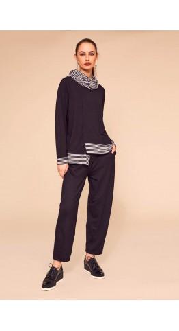 Naya Stripe Hem Jersey Top Black/Grey