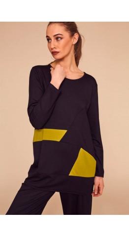 Naya Jersey Contrast Panel Tunic Black/Olive