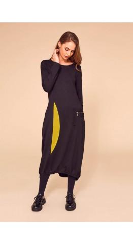 Naya Jersey Contrast Panel Dress Black/Olive