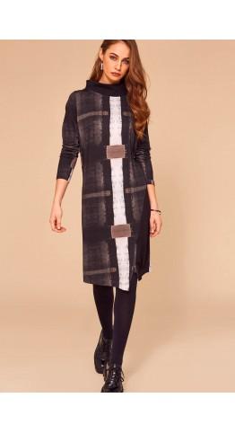Naya Jersey Print Zip Detail Dress Black/Grey