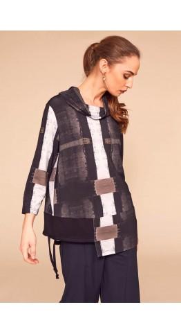 Naya Jersey Cowl Neck Top Black/Grey