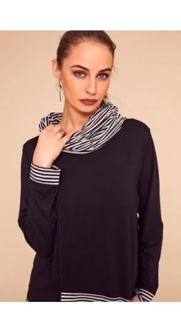 Naya Stripe Scarf/Snood Black/Grey