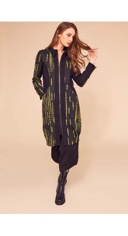 Naya Jaquard Coat With Panels Olive