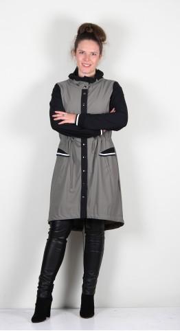 Naya Long Line Coat Khaki/Black