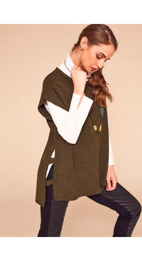 Naya Square Cut Out Sides Knit Khaki