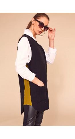 Naya Sleeveless Knit With Side Panels Black/Olive