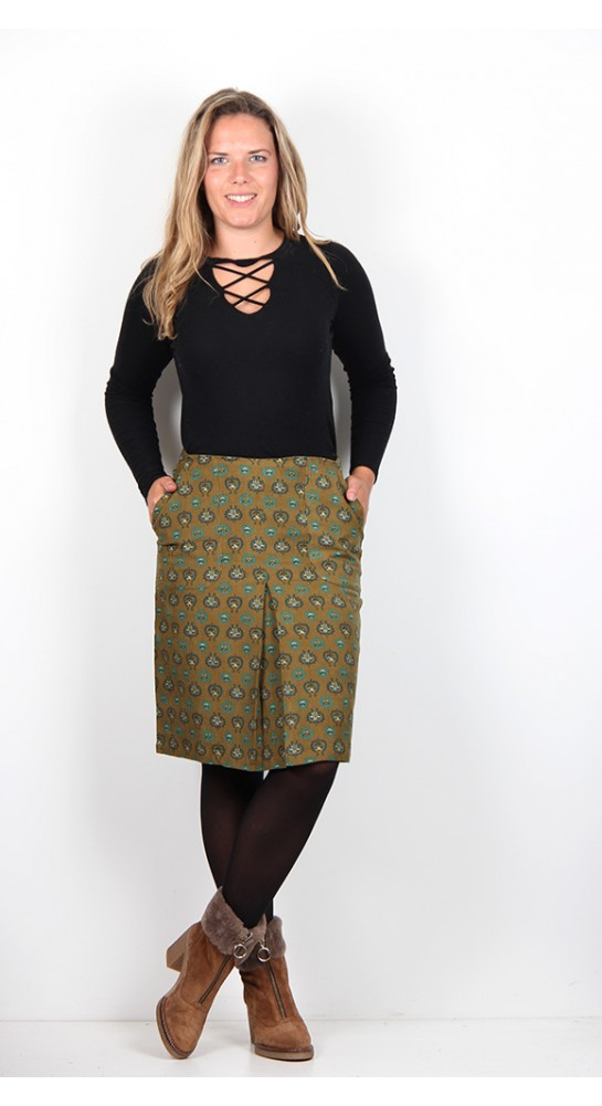 Nomads Pleat Front Skirt Ocre Baby Cord